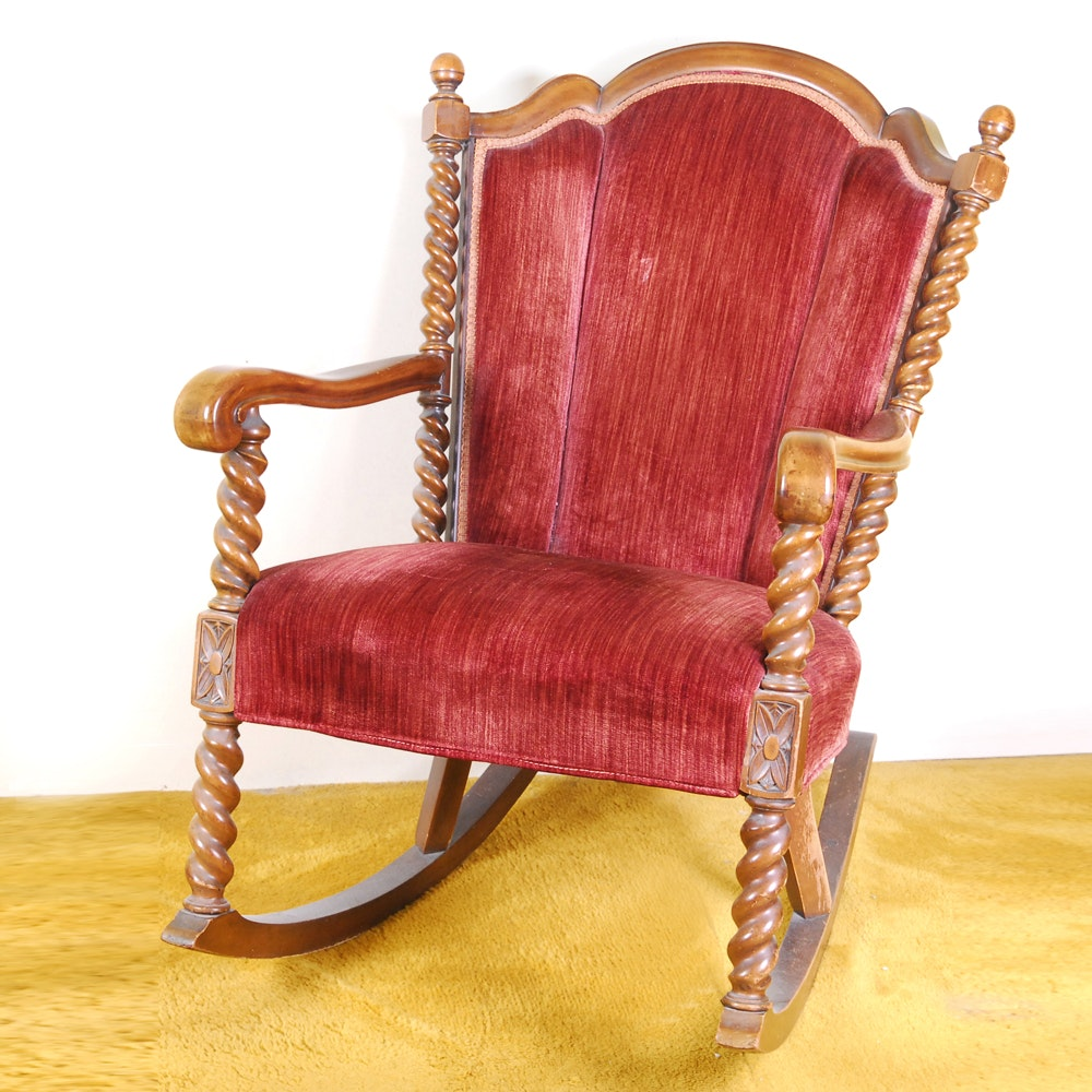 Barley Twist Turned Wood and Red Velvet Wingback Rocking Chair