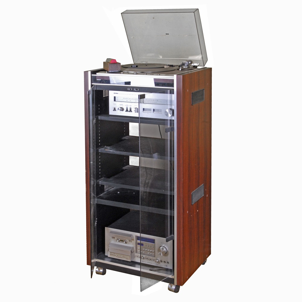 Stereo Equipment With Rolling Cabinet