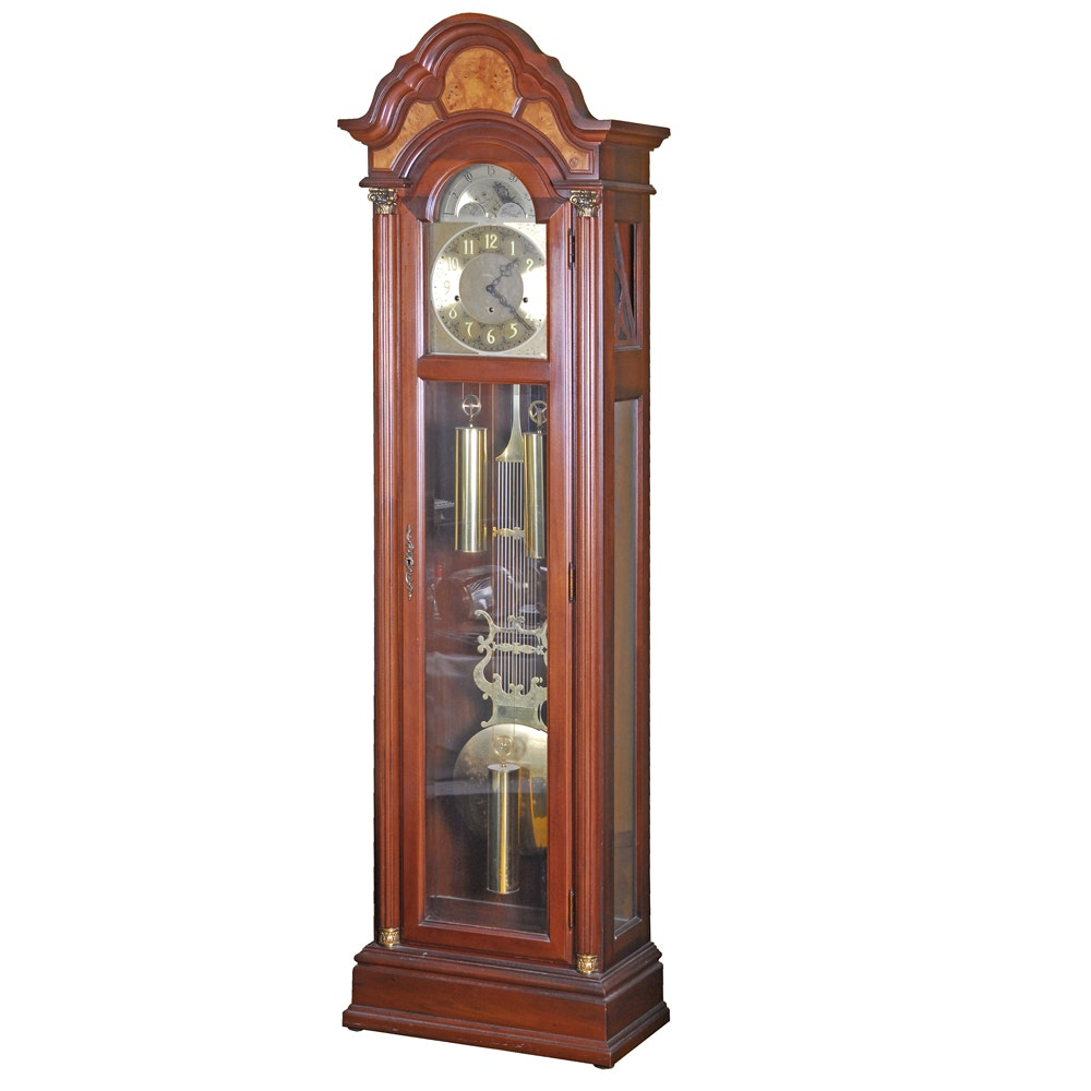 Pearl Cherry and Walnut Grandfather Clock