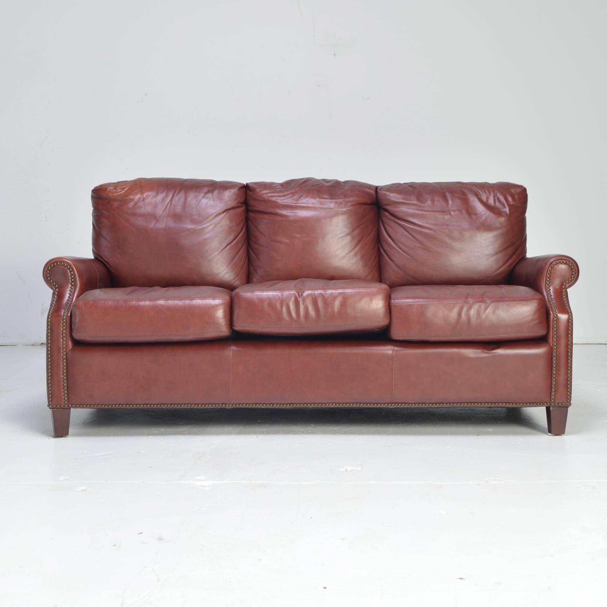 "Burgundy Leather ""Kingston"" Sofa by Palatial Furniture"
