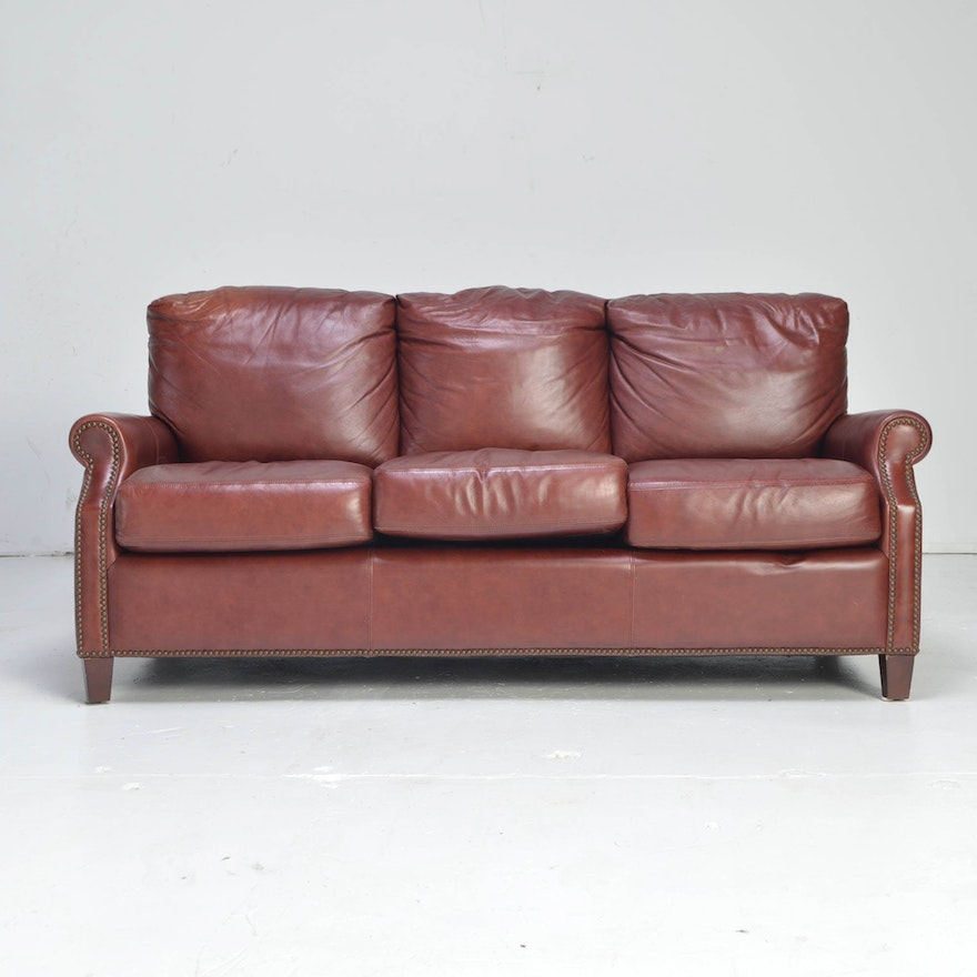 Burgundy leather kingston sofa by palatial furniture ebth for Furniture kingston