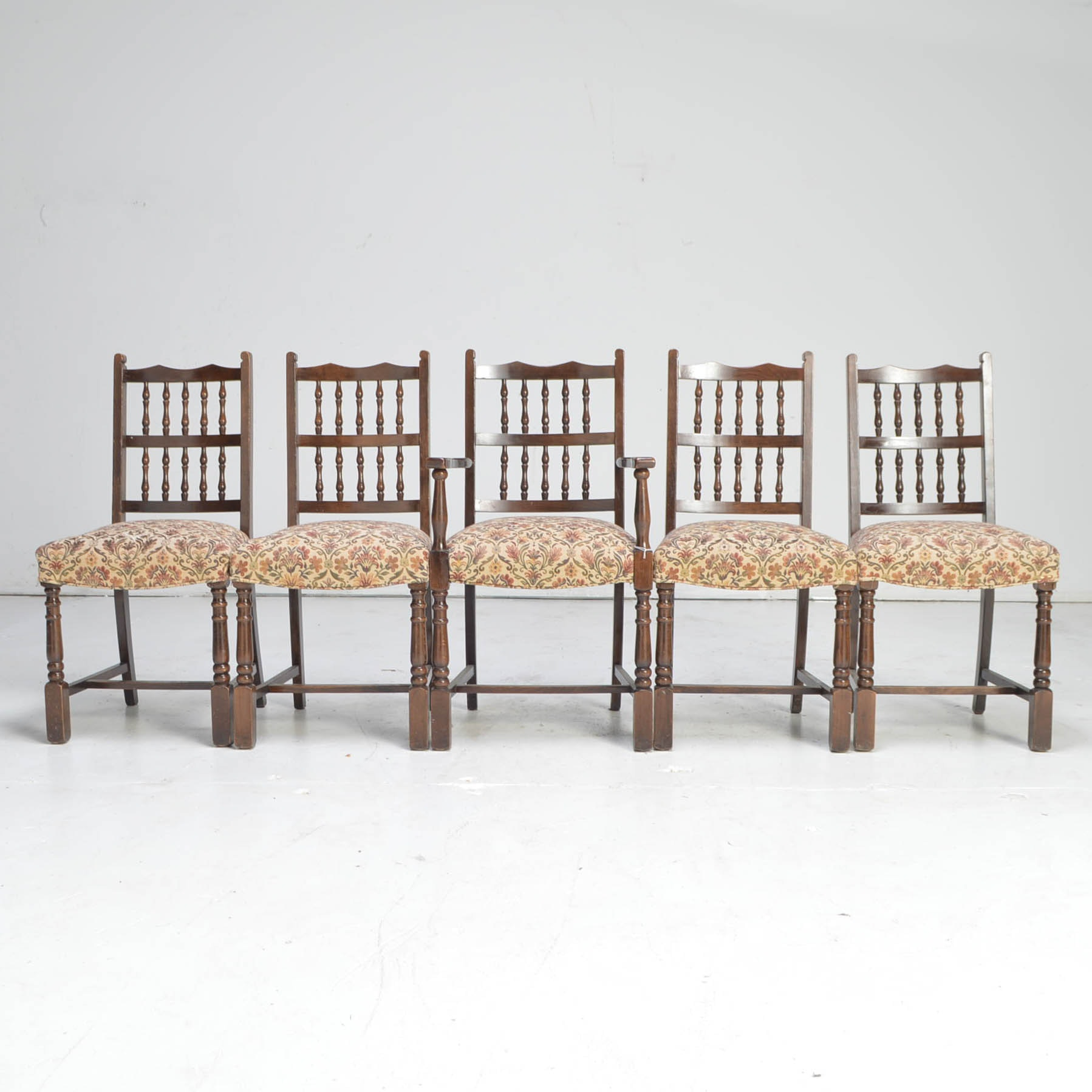 Vintage Walnut Dining Chairs with Upholstered Seats
