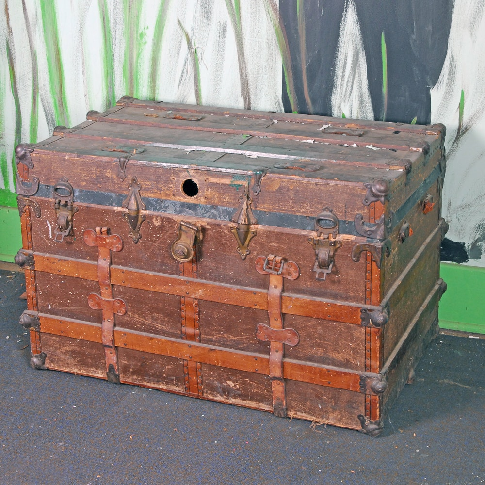 Vintage Wooden Trunk With Railway Shipping Labels