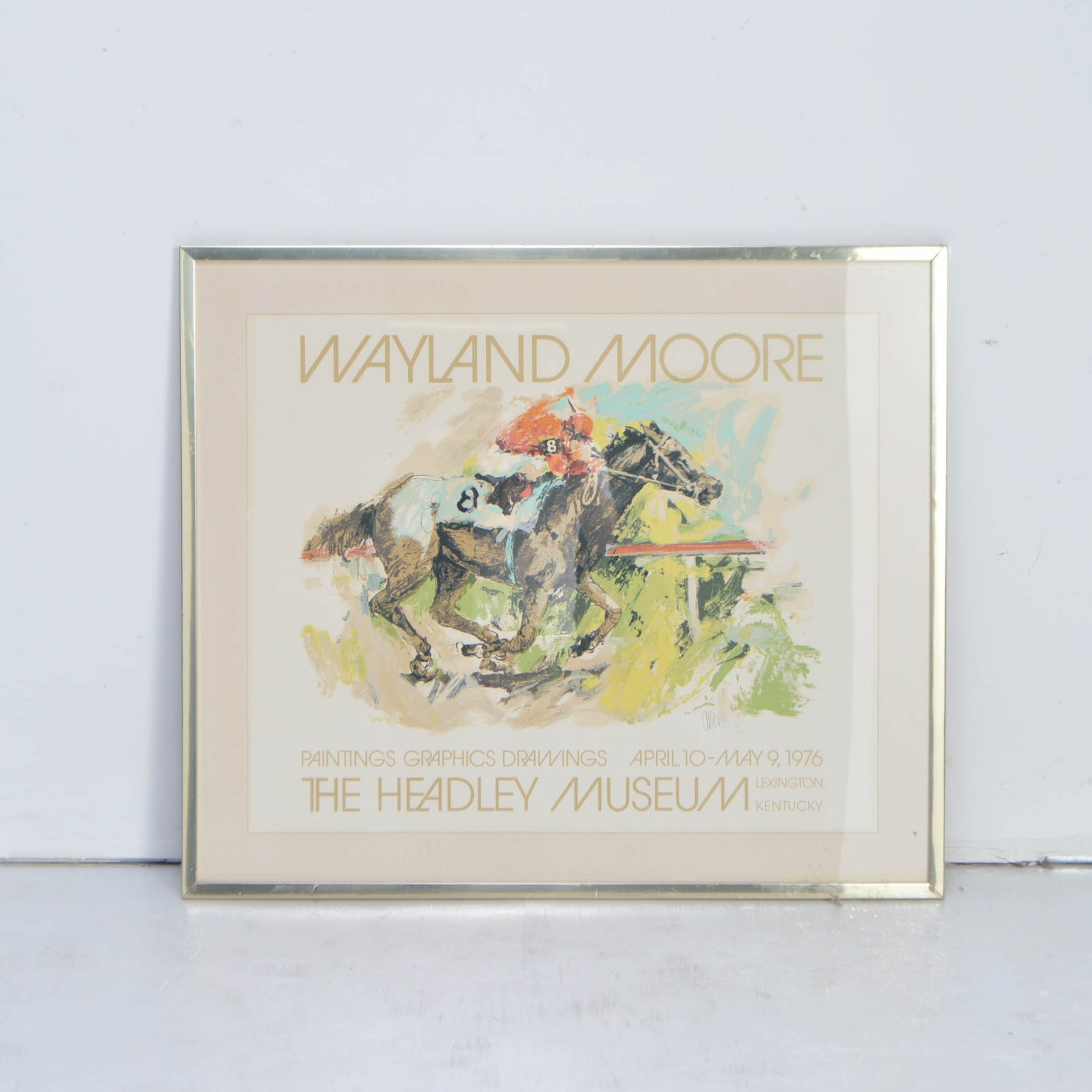 """Wayland Moore Signed Serigraph """"Horse Race"""""""