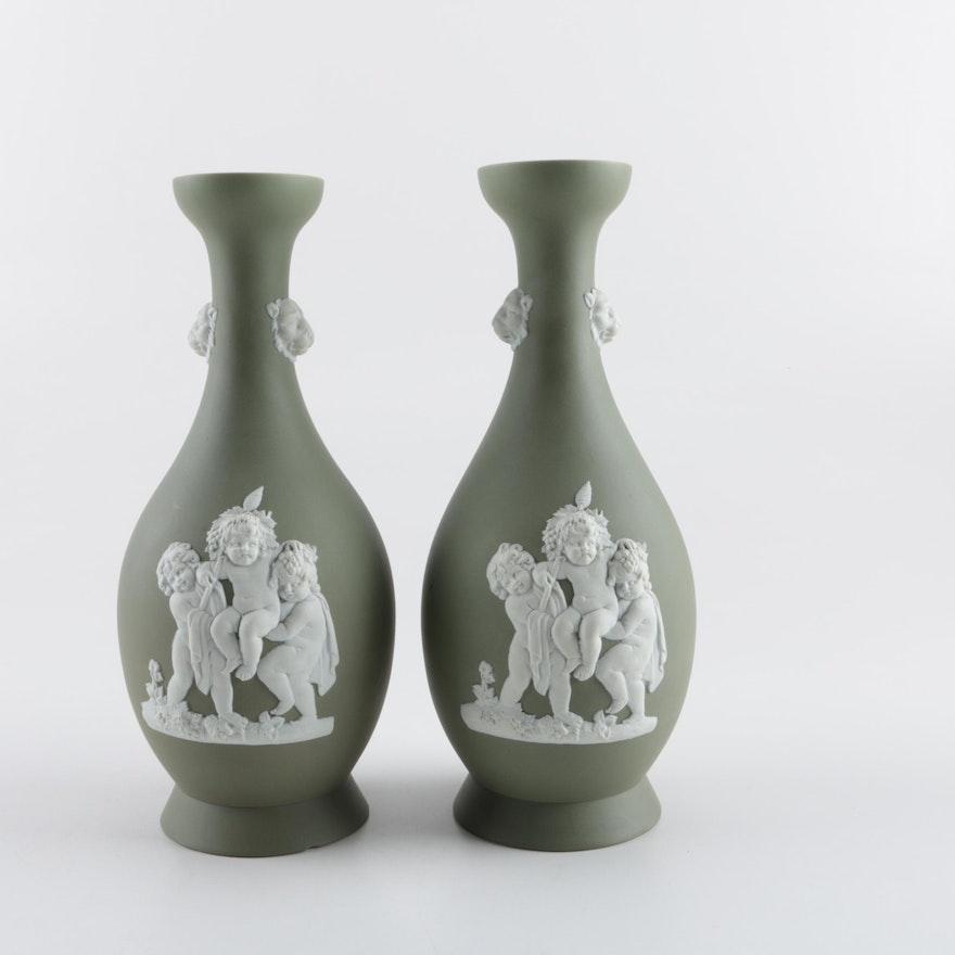 Pair Of Green Wedgwood Vases Ebth