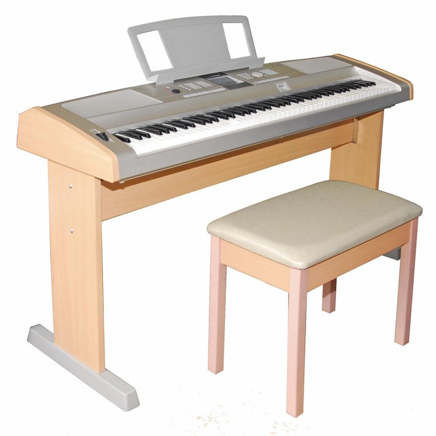 Yamaha portable grand electronic keyboard and bench ebth for Yamaha white piano bench