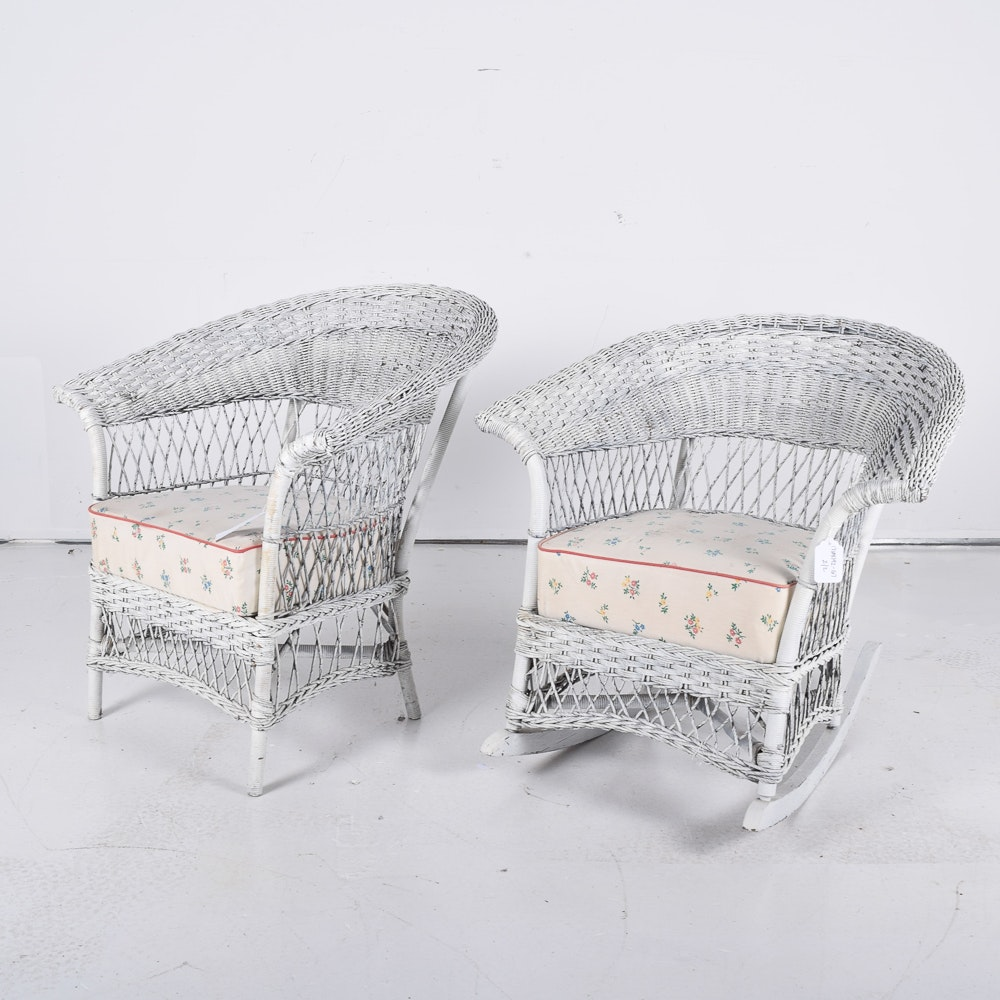 Two White Wicker Chairs with Cushions