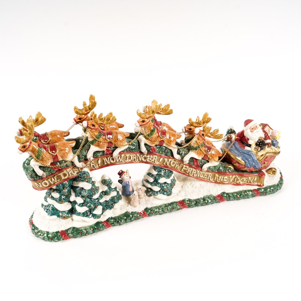 Fitz And Floyd The Night Before Christmas Ceramic Centerpiece