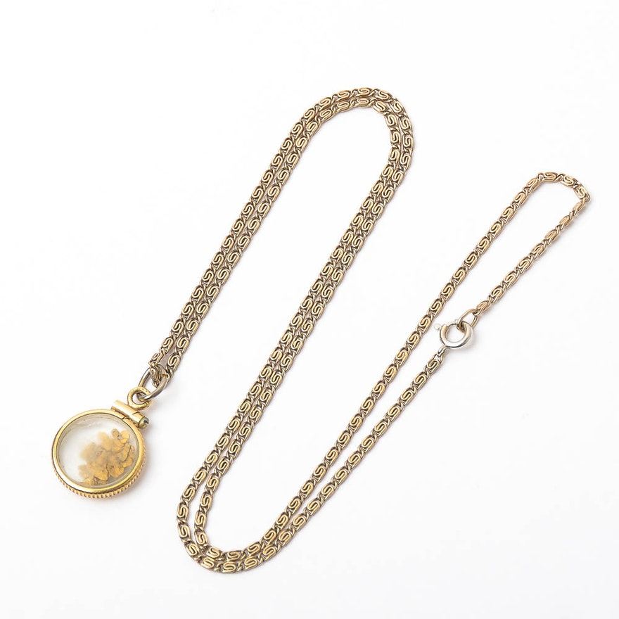 14k gold snail chain necklace and gold filled pendant with gold 14k gold snail chain necklace and gold filled pendant with gold nuggets aloadofball Images
