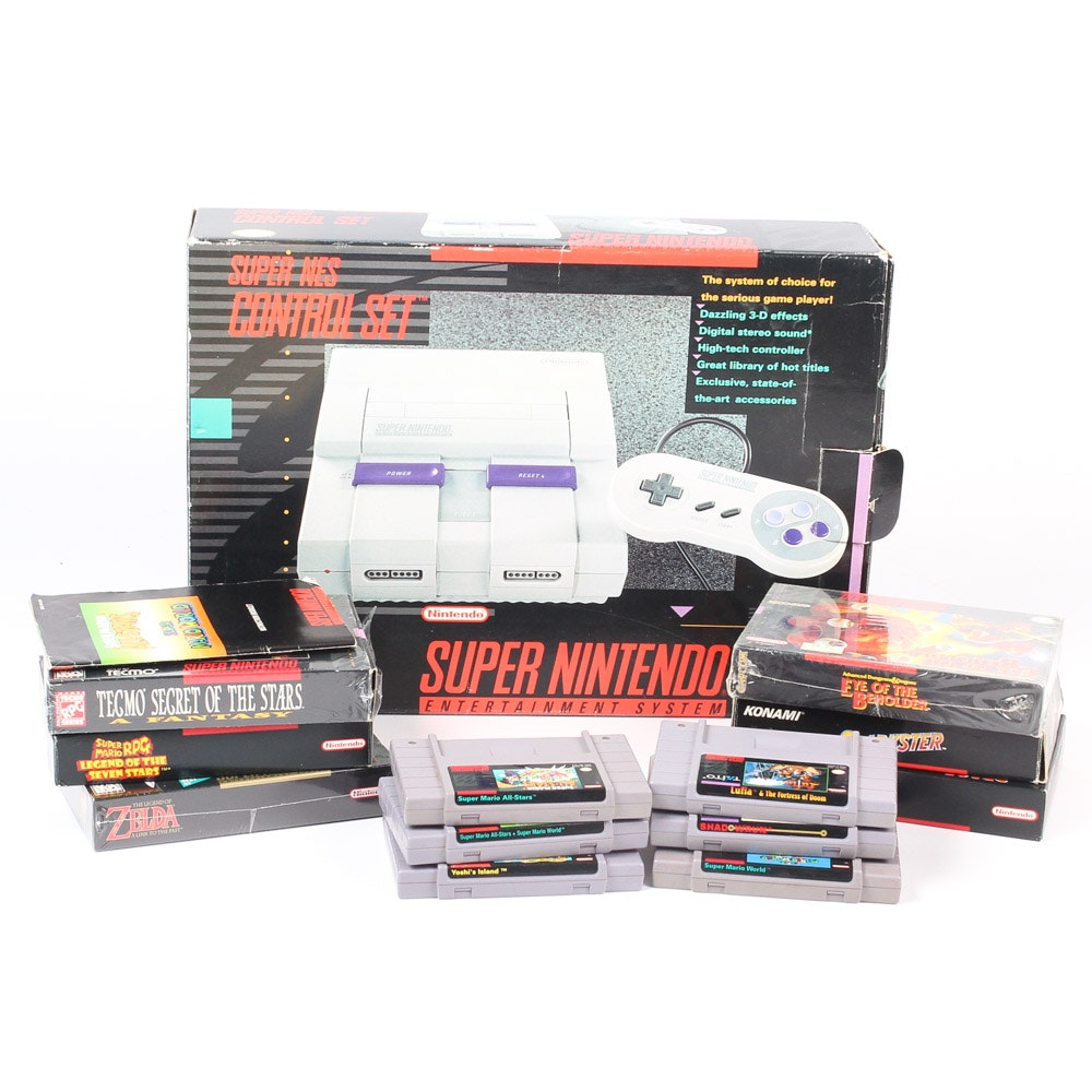 Super Nintendo Game System and Accessories