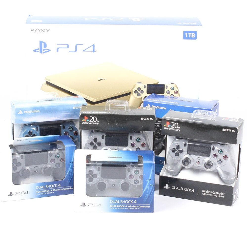 Gold PlayStation 4 Slim 1TB and Accessories