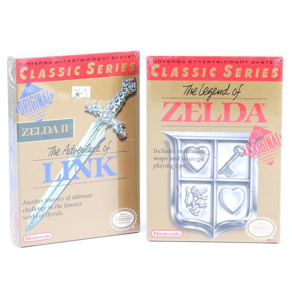 Unopened NES Legend of Zelda and Zelda II Games
