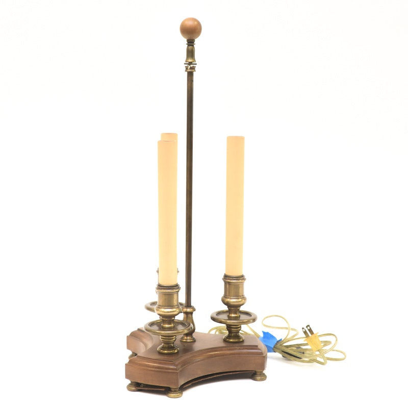 Brass and Wood Candlestick Table Lamp