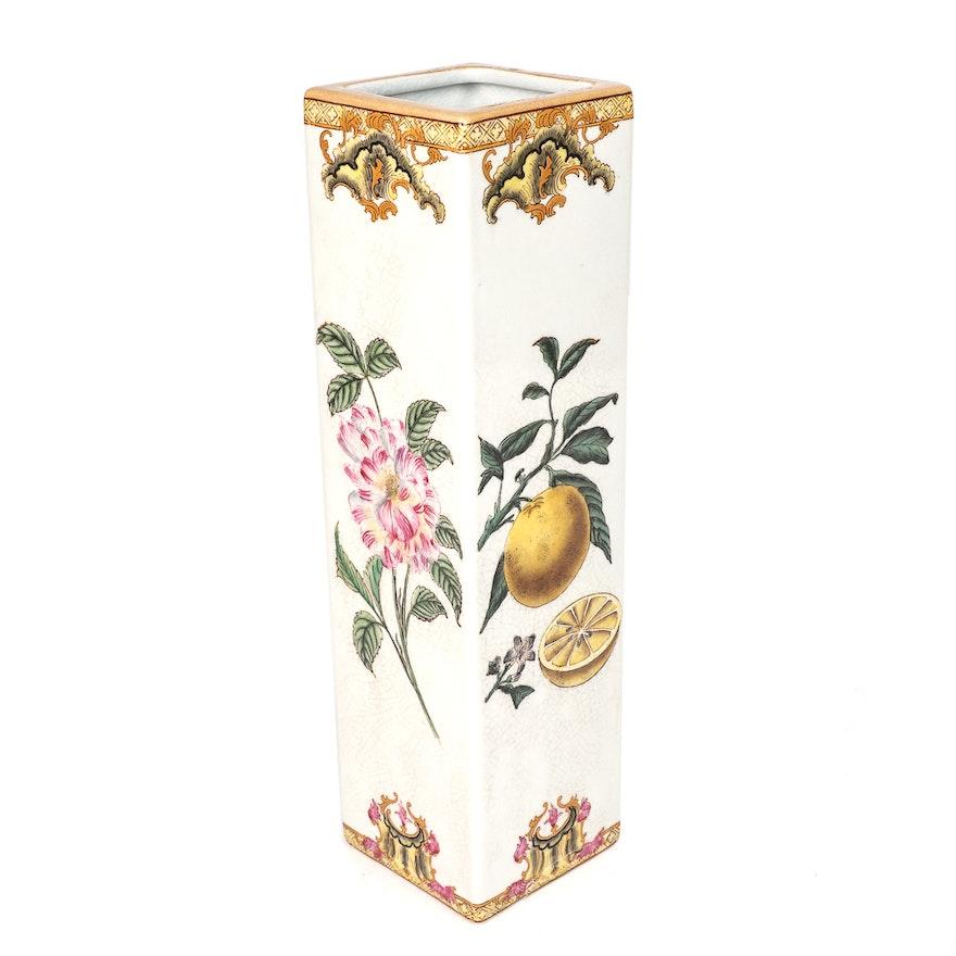Vintage Tozai Home Decorative Ceramic Square Vase Ebth