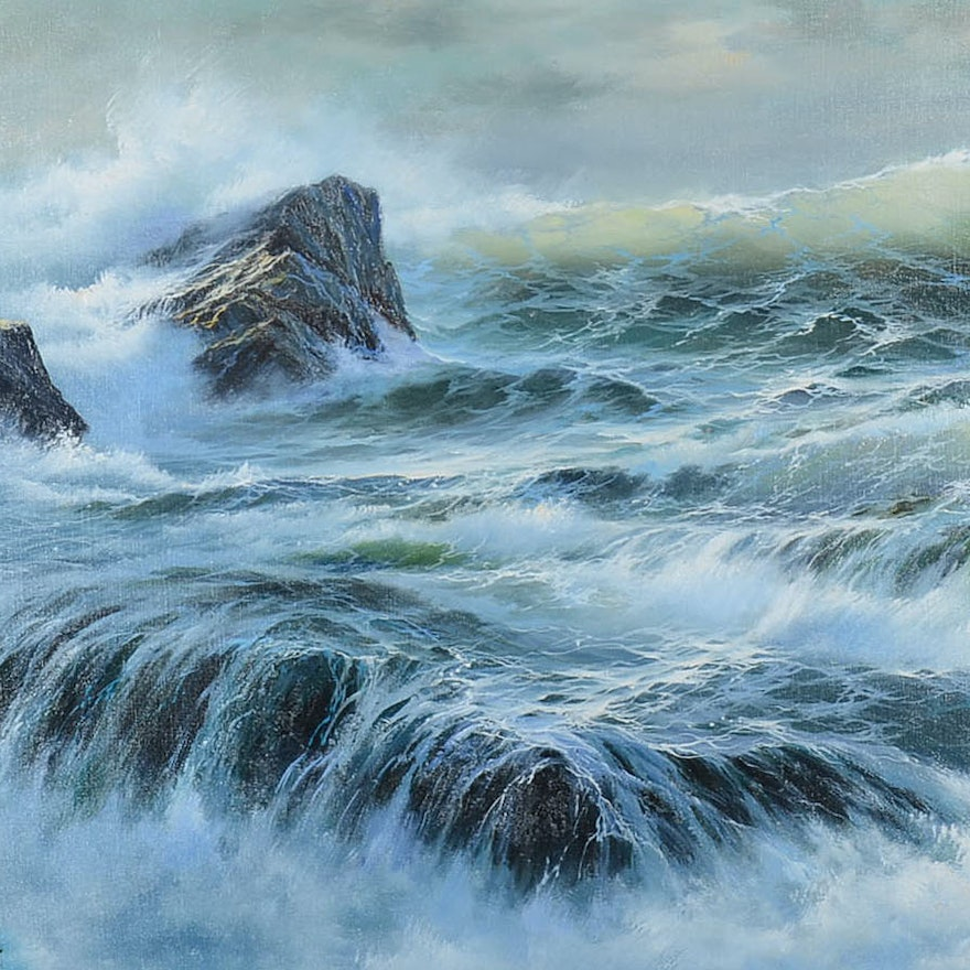 June Nelson Oil Painting On Canvas Of A Seascape