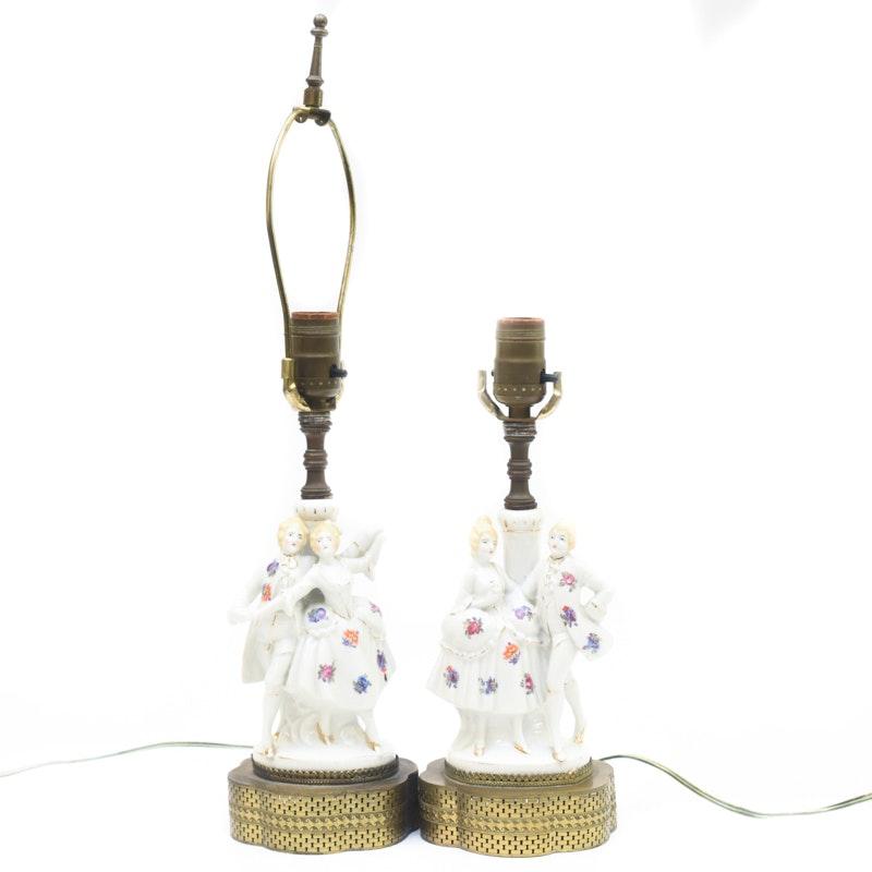 Pair of Porcelain Figural Boudoir Lamps