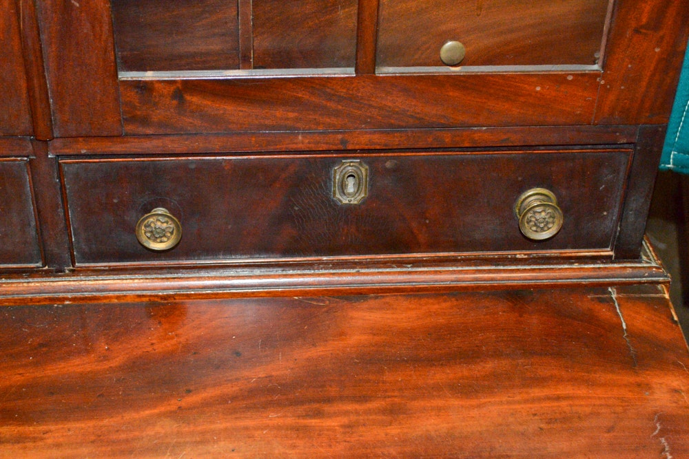 Antique Cherry And Mahogany Veneer Late Federal Secretary