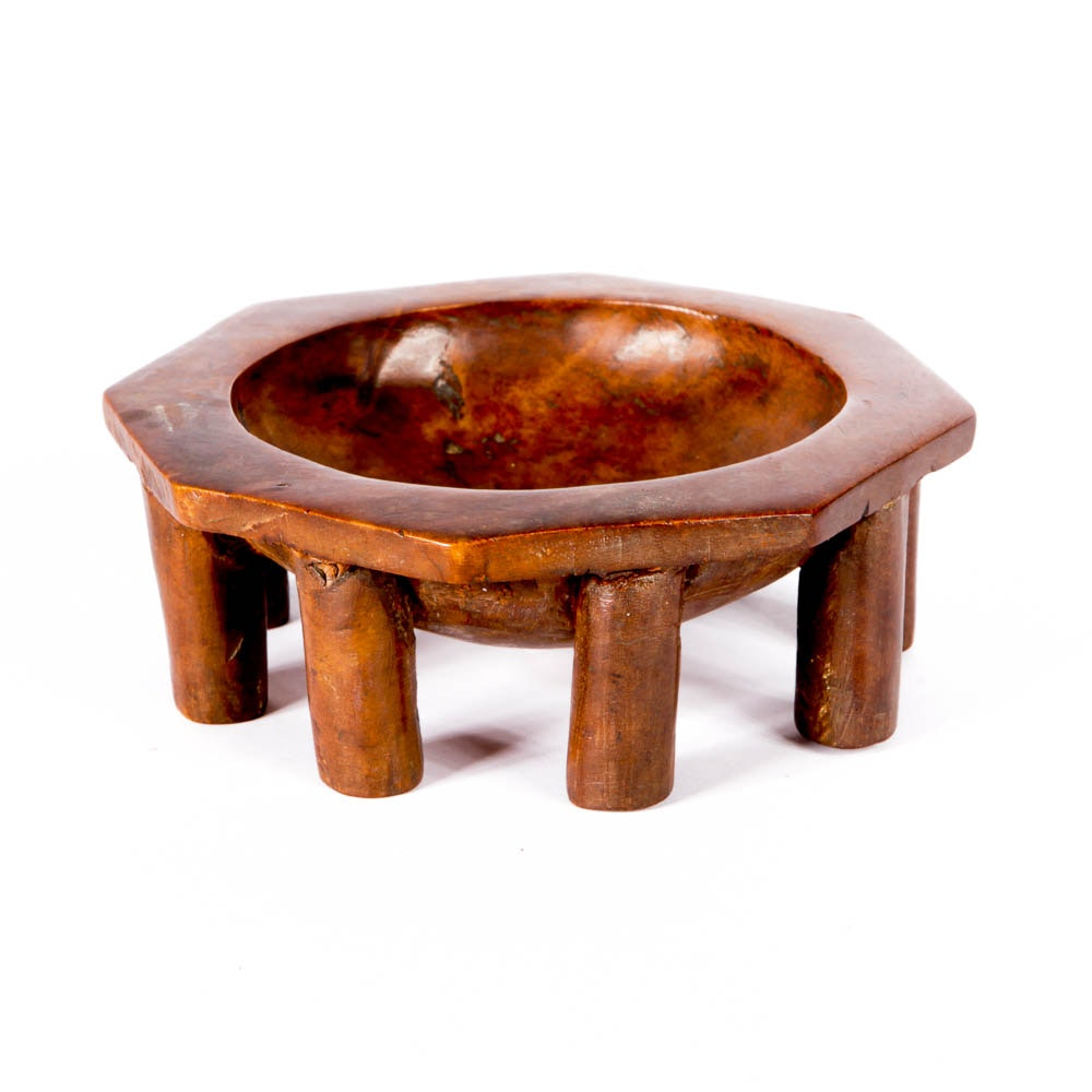 African Hand-Carved Wood Bowl with Legs