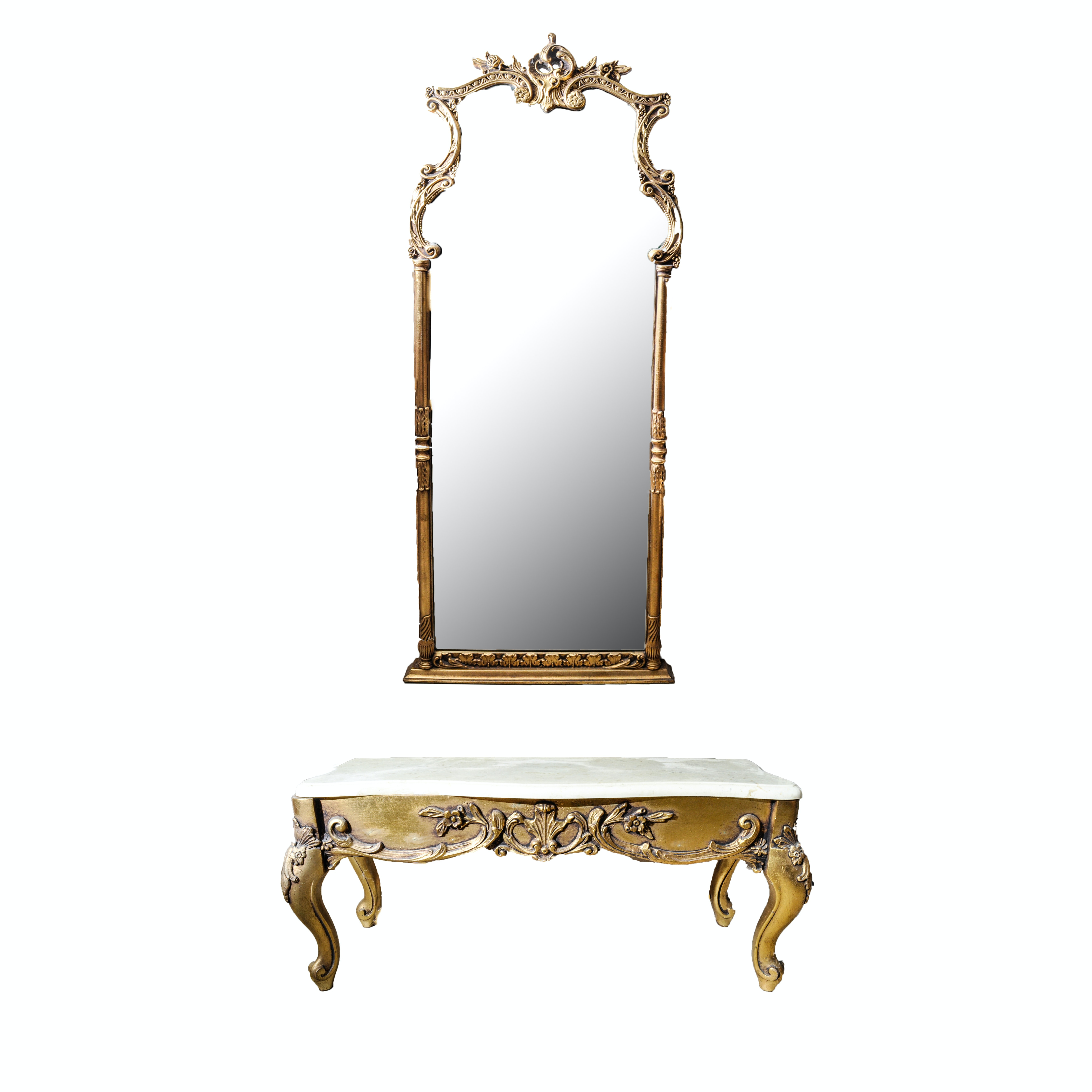 French Rococo Style Marble Top Hall Table and Mirror Set