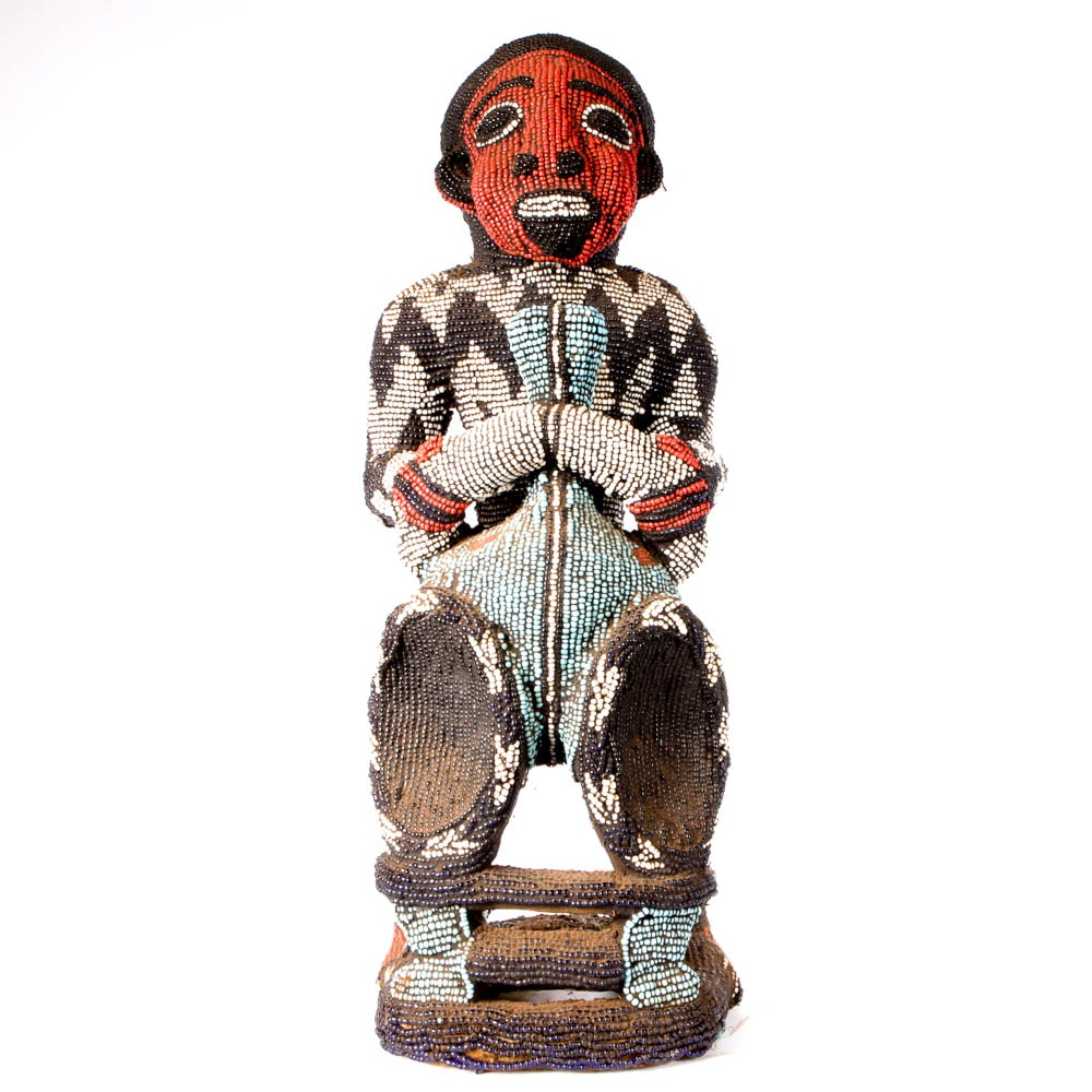 Impressive African Carved and Beaded Figural Sculpture