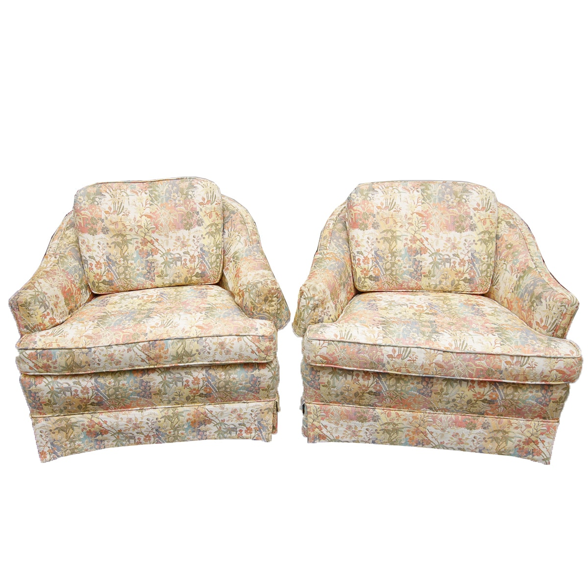 Pair of Vintage Upholstered Accent Chairs