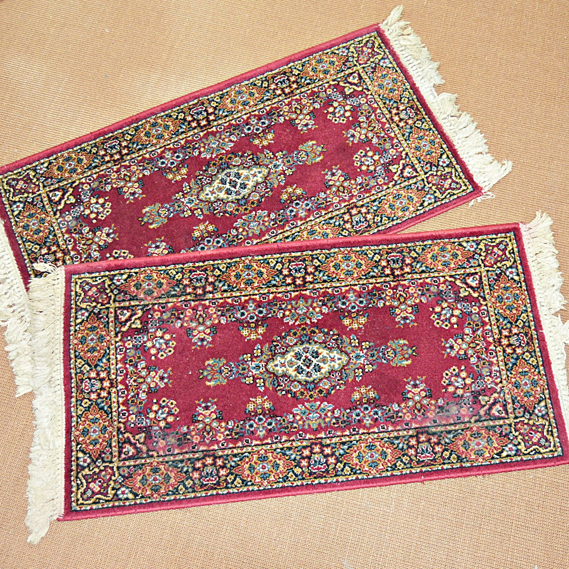 Two Small Machine Made Kerman Style Accent Rugs