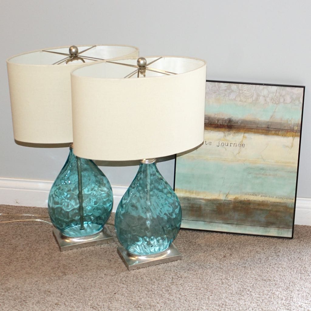 Two Aqua Glass Table Lamps With Art Print Ebth