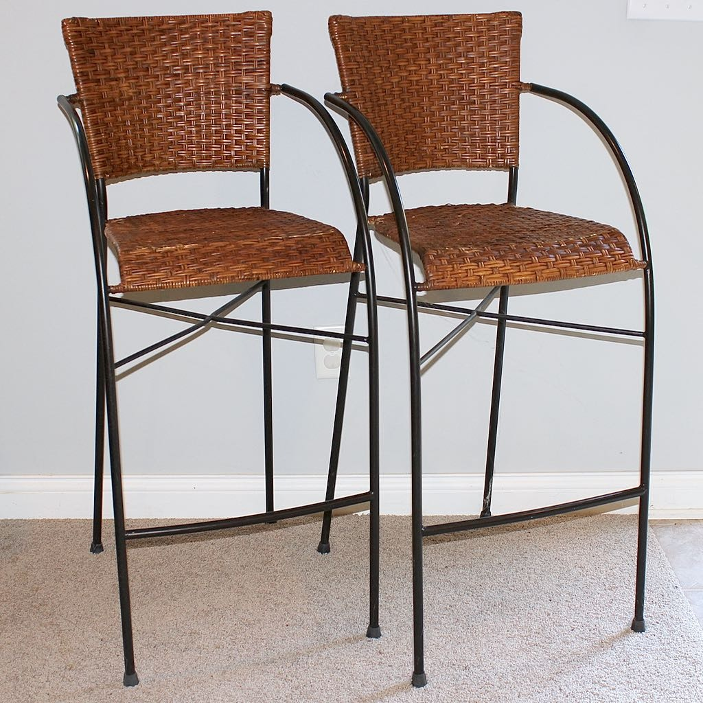 Two Iron Frame & Rattan Weave Counter Chairs