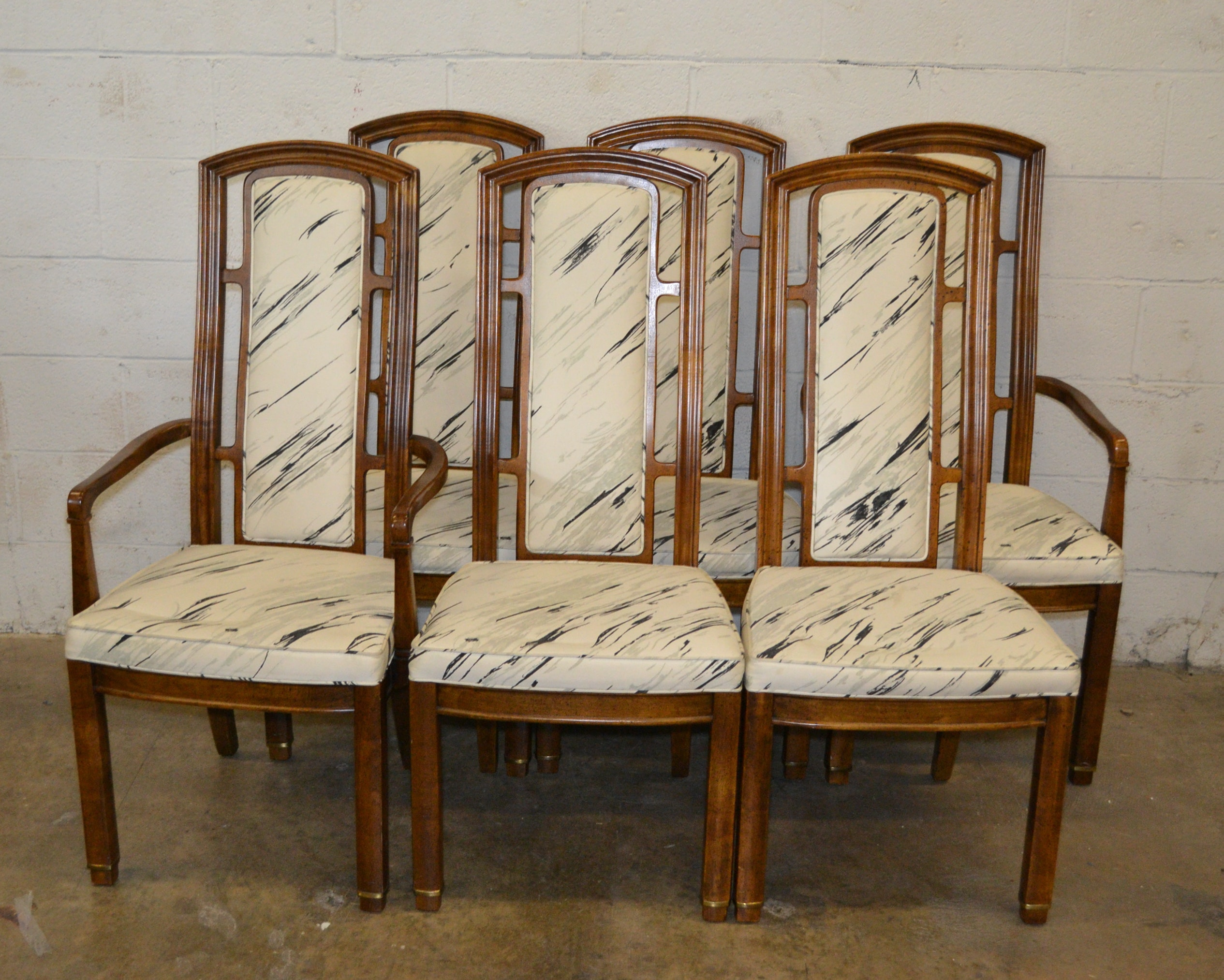 A Set of Six Modern Upholstered Dining Room Chairs