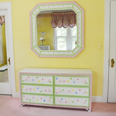 Amazing Painted Wicker Front Dresser And Wall Mirror By Lea The Bedroom People ...