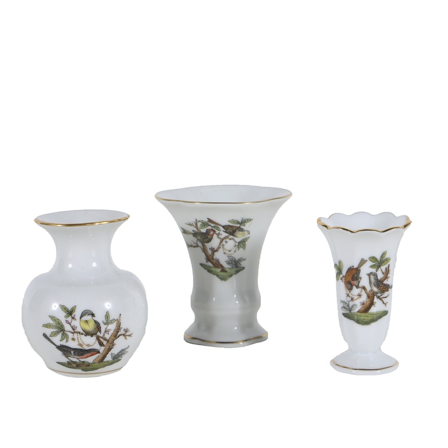 Three Herend Rothschild Bird Small Vases Ebth