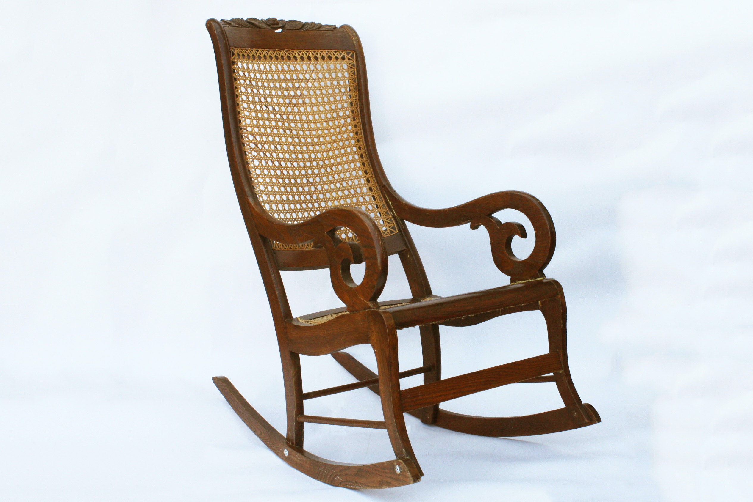 Victorian Style Cane Rocking Chair