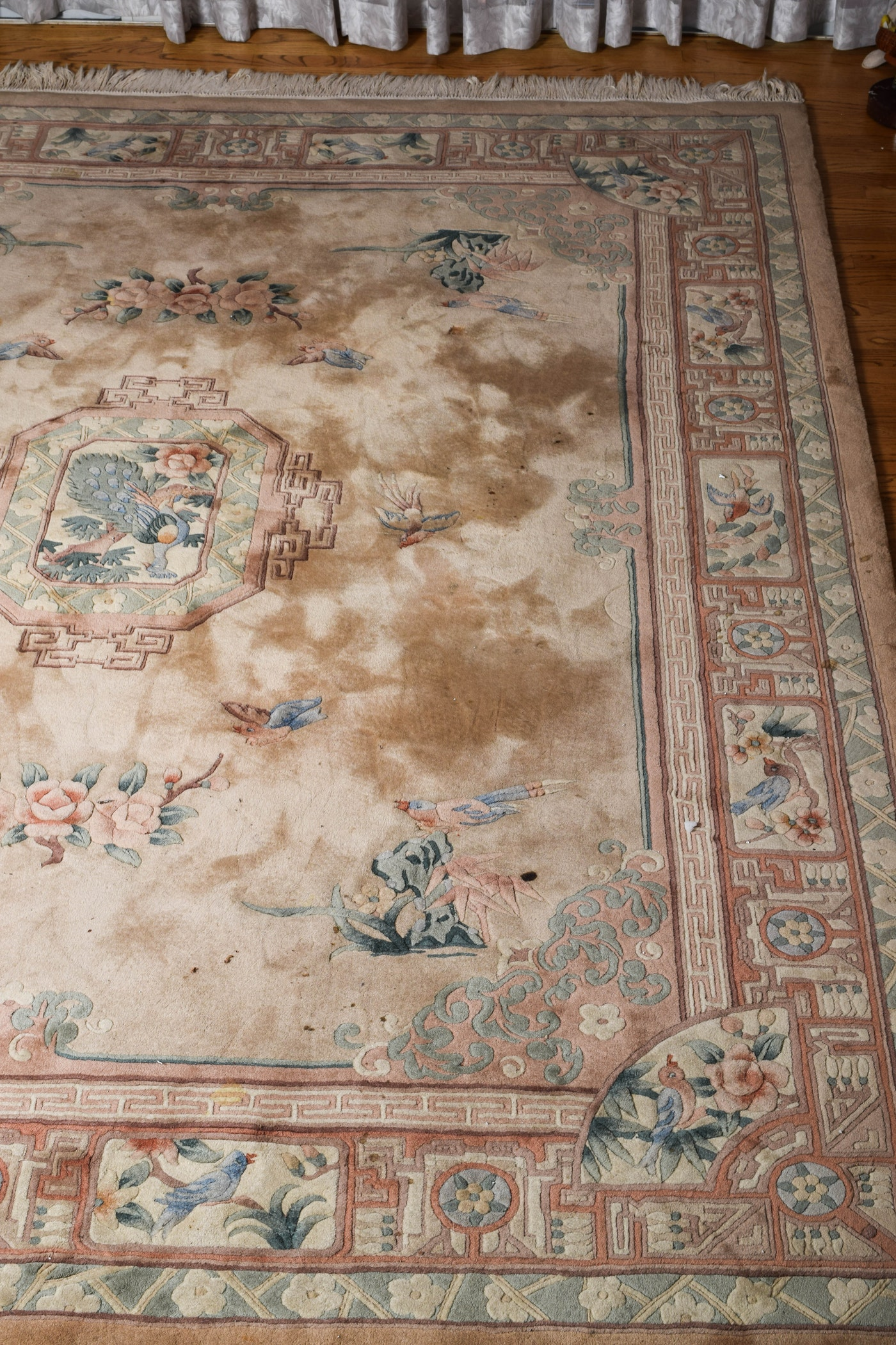 Vintage Carved Chinese Area Rug Ebth