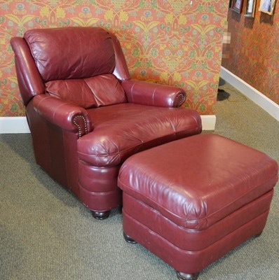 Bradington Young Leather Recliner and Ottoman