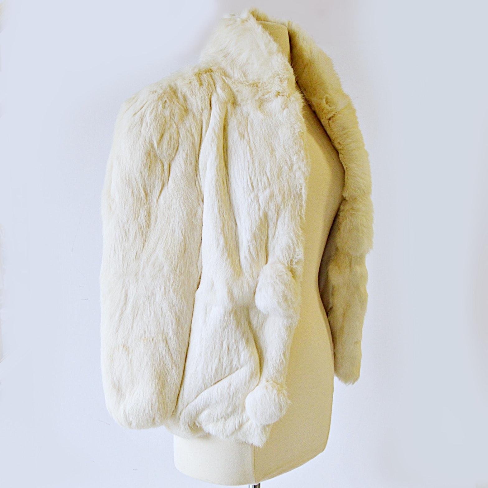 Vintage White Rabbit Crop Jacket