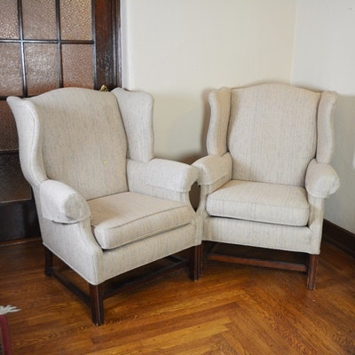 Century Furniture Herringbone Wingback Chairs