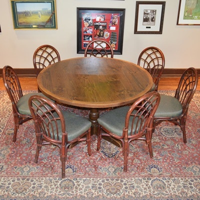 Round Game Table and Seven Bamboo Style Chairs