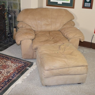 Viewpoint Leather Works Camel Suede Chair And Ottoman ...
