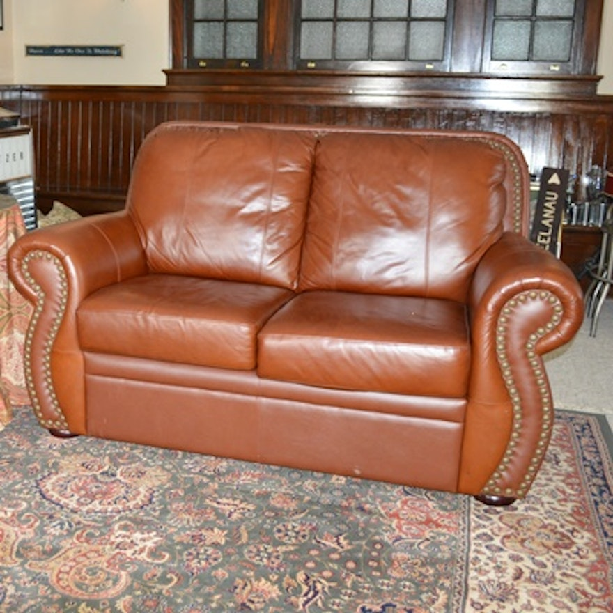 Wondrous Saddle Leather Loveseat Gmtry Best Dining Table And Chair Ideas Images Gmtryco