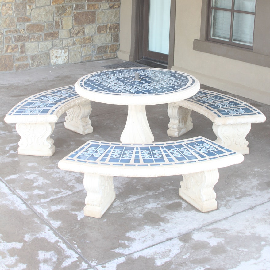 Ceramic Blue Mosaic Tile Outdoor Table And Benches