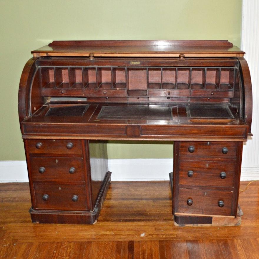 Antique Victorian Cylinder Roll-Top Desk ... - Antique Victorian Cylinder Roll-Top Desk : EBTH
