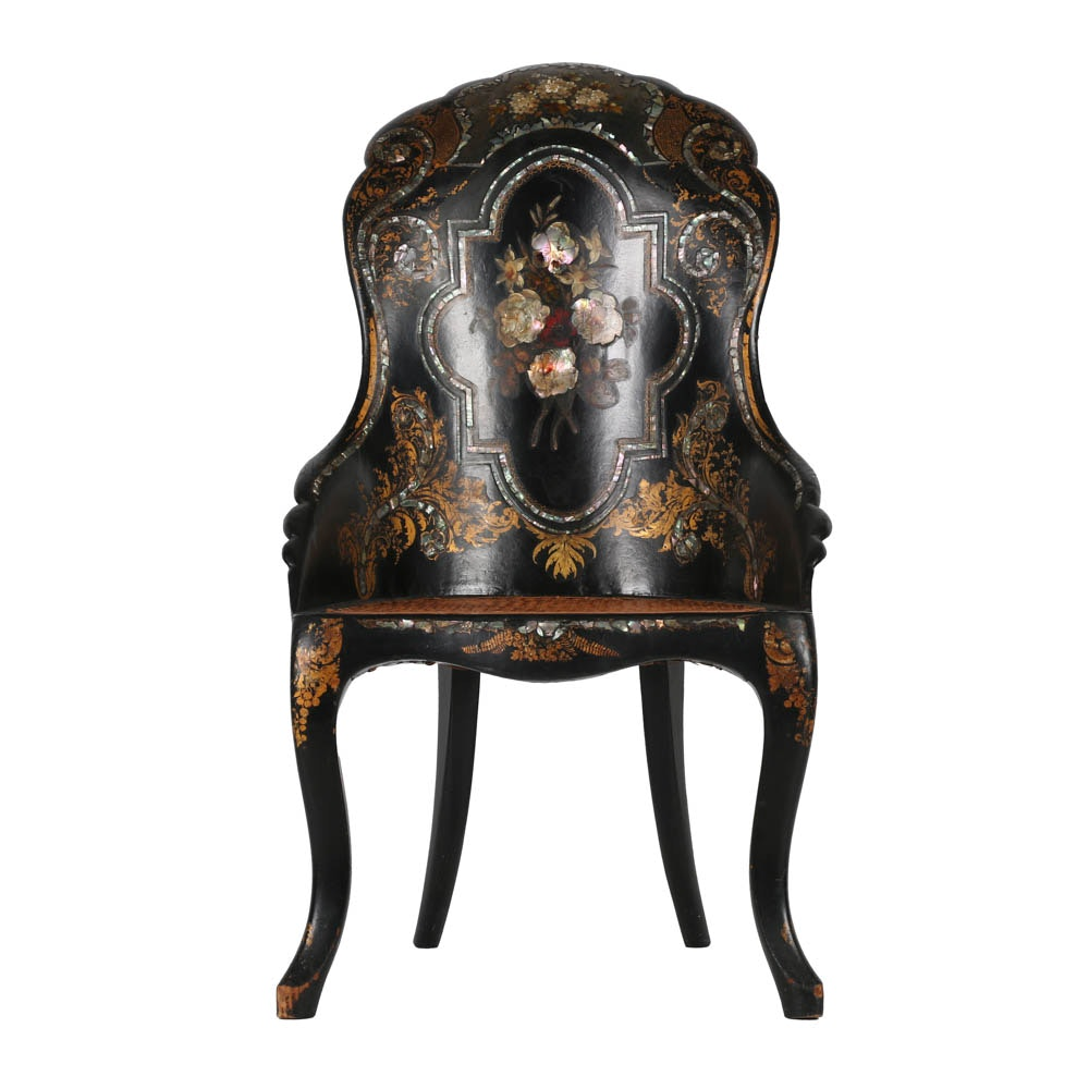 English 19th C. Rococo Revival Papier-Mâché Slipper Chair Inlay and Gilding