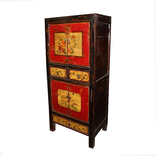 Chinese Inspired Black and Red Cabinet with Flowers