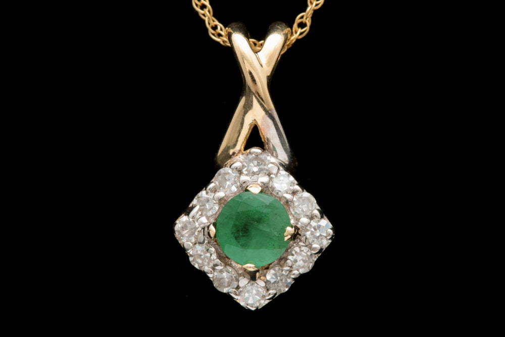 10K Yellow Gold Emerald and Diamond Pendant Necklace