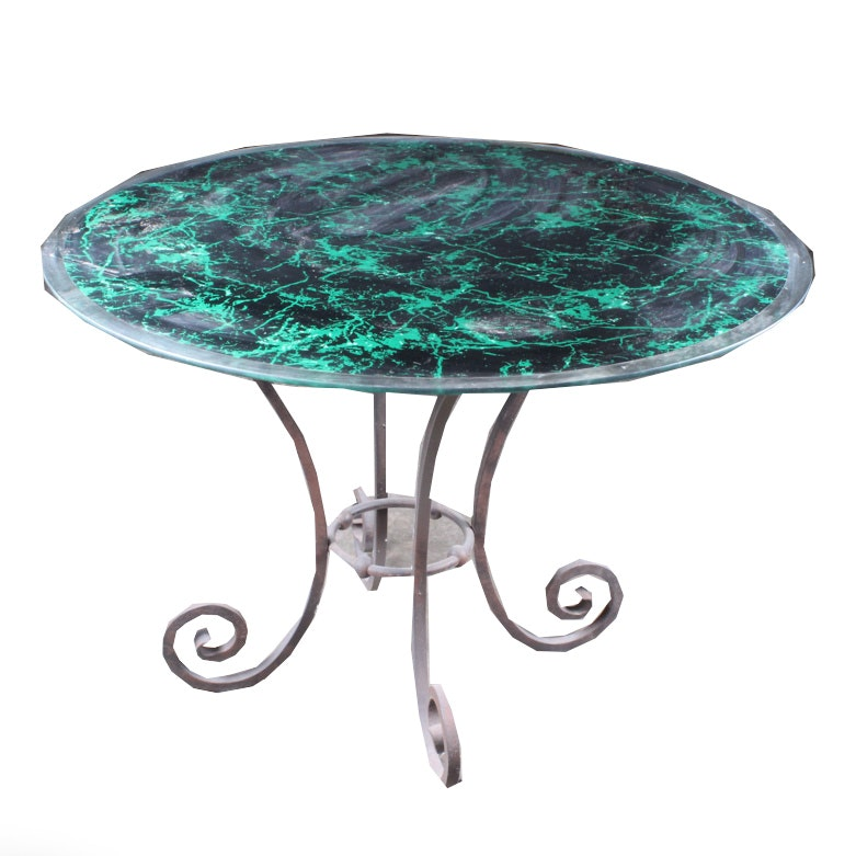 Round Metal Table with Glass Top