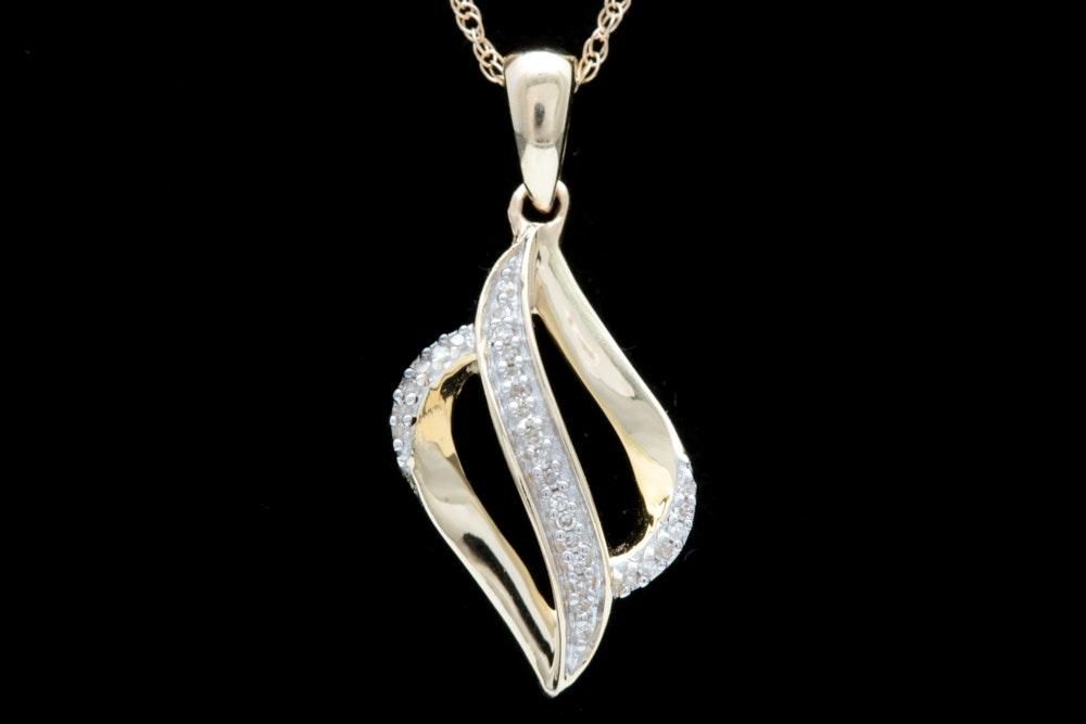 10K Yellow Gold Diamond Pendant Necklace