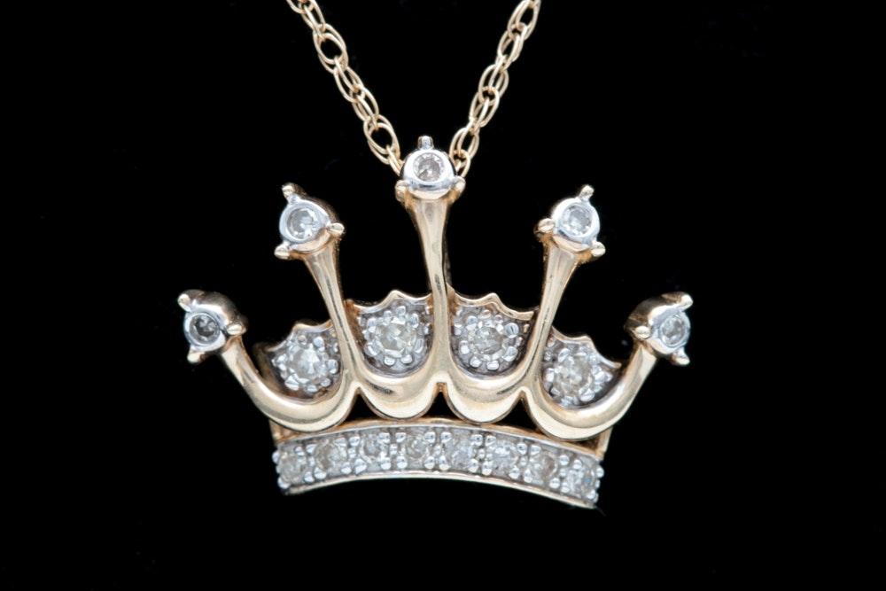 10K Yellow Gold Diamond Crown Pendant Necklace