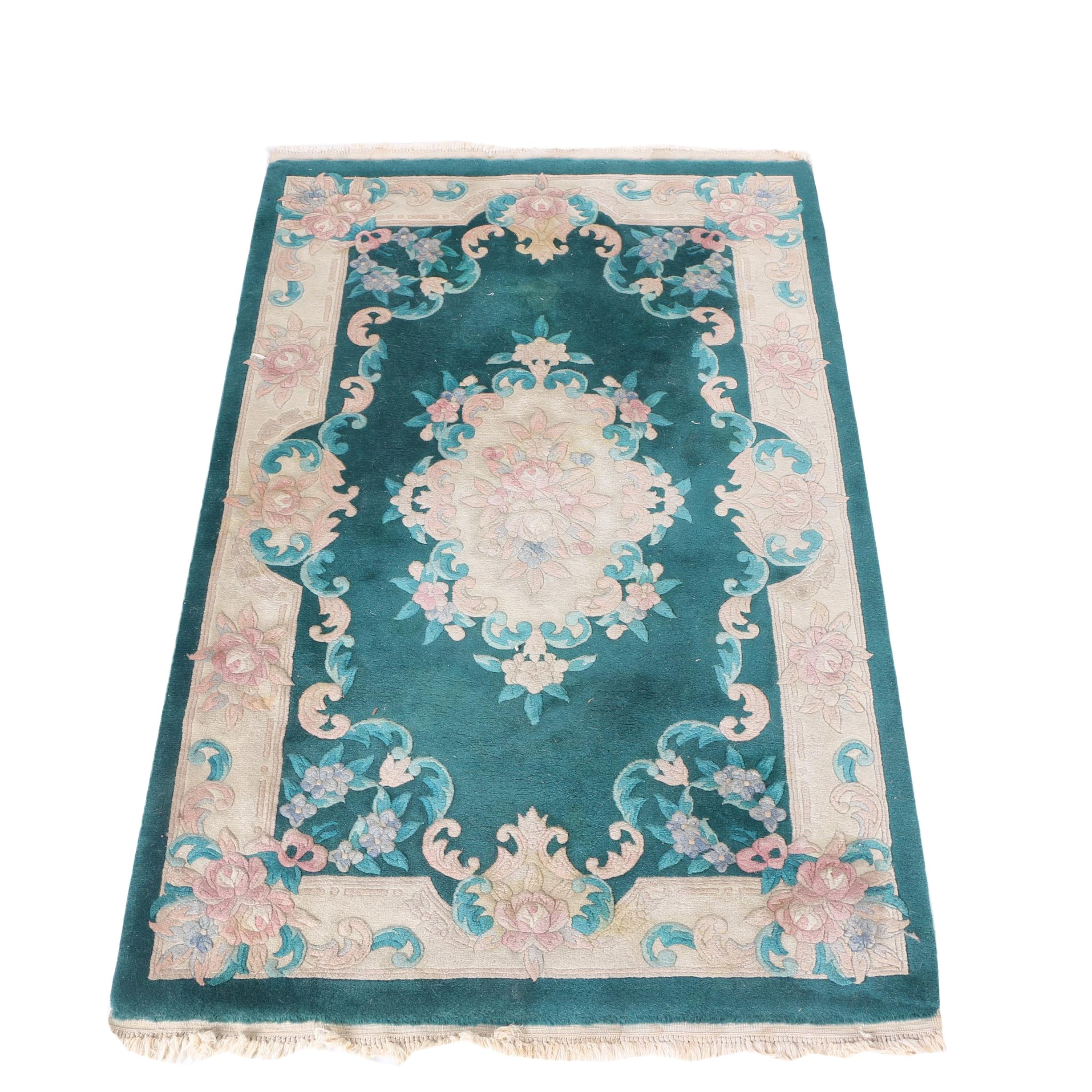 Hand-Knotted Carved Chinese Wool Area Rug