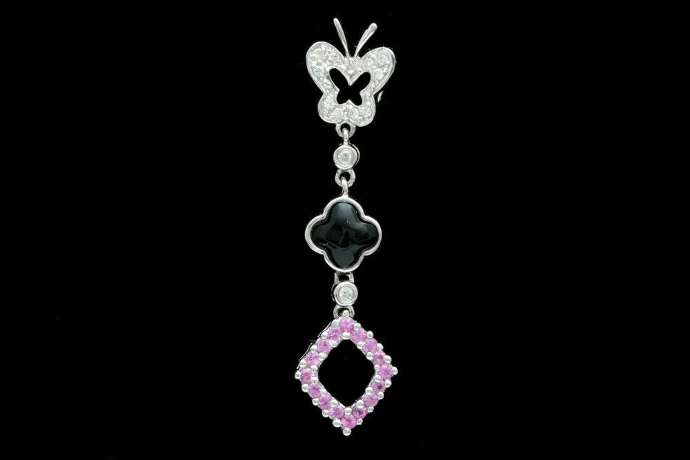 14K White Gold Black Chalcedony, Pink Sapphire, and Diamond Pendant