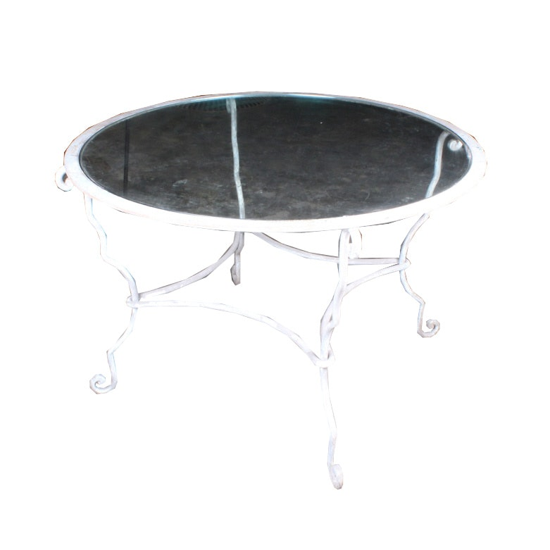 Round Metal Table With Glass Top Inlay